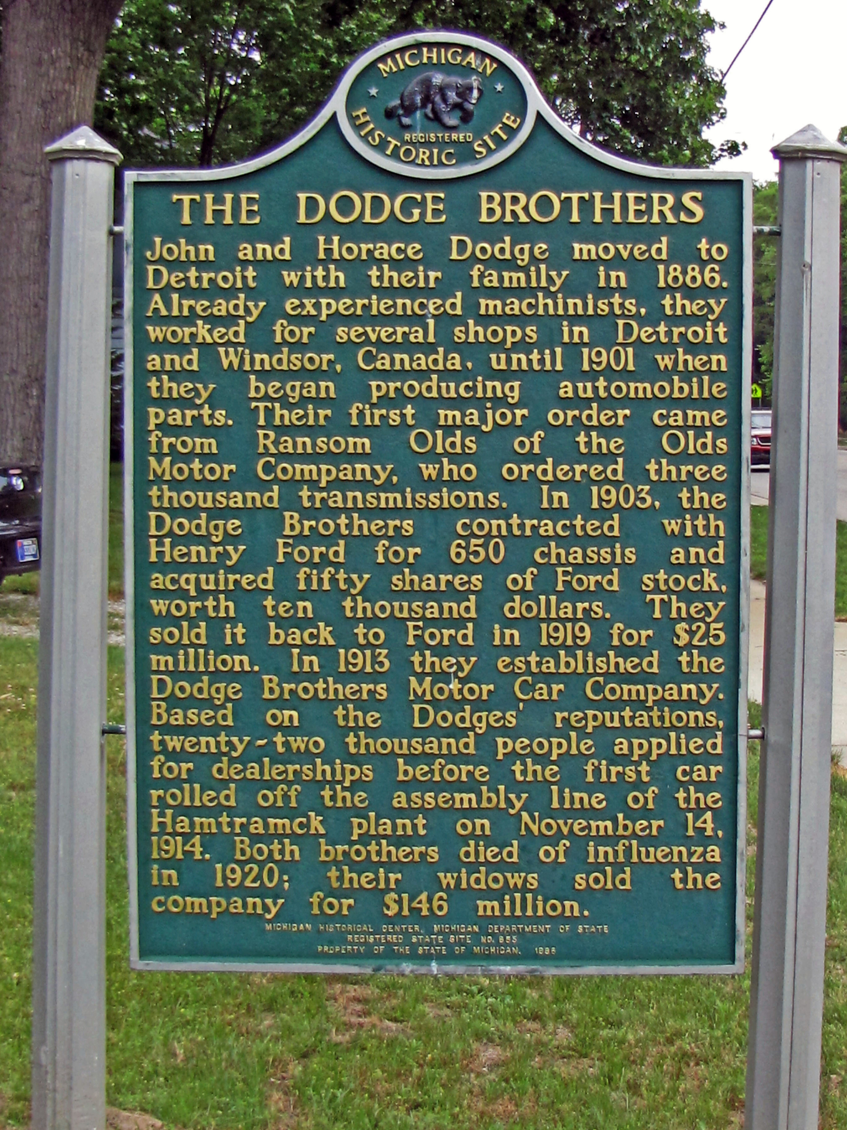 Birthplace Of John And Horace Dodge Commemorative Designation